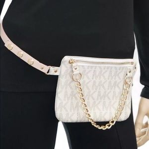 Michael Kors Medium vanilla fanny pack belt